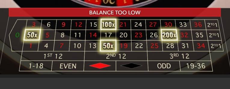 Lightning Roulette Board