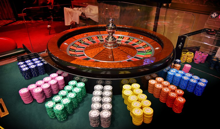 Roulette Wheel and Chips